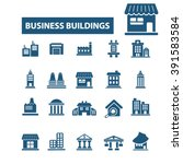 business buildings icons  | Shutterstock .eps vector #391583584