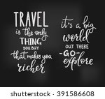 travel inspiration quotes... | Shutterstock .eps vector #391586608