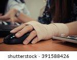 asian women hand sore working... | Shutterstock . vector #391588426