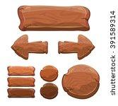 set of wooden sign  banner ... | Shutterstock .eps vector #391589314