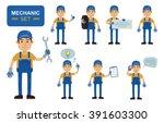 Set Of Auto Mechanic Characters ...