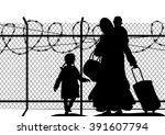 silhouettes of refugee with two ... | Shutterstock .eps vector #391607794