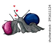 a vector image of kissing snails | Shutterstock .eps vector #391611124