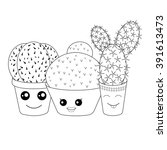 coloring with cacti.coloring... | Shutterstock .eps vector #391613473