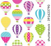 hot air balloons pattern... | Shutterstock . vector #391623790