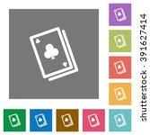 card game flat icon set on...
