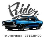 vector blue muscle car icon on... | Shutterstock .eps vector #391628470