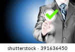 business man touching  pressing ... | Shutterstock . vector #391636450