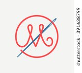 m letter logo with needle and... | Shutterstock .eps vector #391638799