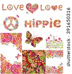 set of hippie backgrounds | Shutterstock .eps vector #391650316