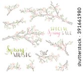 vector set of spring branches...