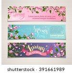 vector set of horizontal spring ... | Shutterstock .eps vector #391661989
