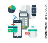 mobile payment icons | Shutterstock .eps vector #391670014