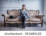 portrait of beautiful young... | Shutterstock . vector #391684120