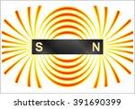 magnetism   magnetic lines of... | Shutterstock .eps vector #391690399