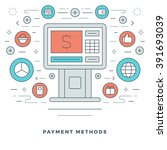 flat line business concept... | Shutterstock .eps vector #391693039