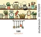 rustic kitchen banner. side...   Shutterstock .eps vector #391705099
