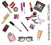 set of beauty items and... | Shutterstock . vector #391711690