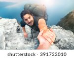 adventurers helping each other... | Shutterstock . vector #391722010
