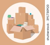 moving with boxes. transport... | Shutterstock .eps vector #391730920