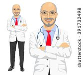 mature medical male doctor with ... | Shutterstock .eps vector #391732498
