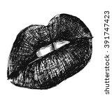 hand sketch of female lips | Shutterstock .eps vector #391747423