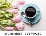 Blue Cup Of Coffee With Pink...