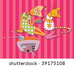 Girl and Cat Watching TV (hand drawn vector doodle) - stock vector
