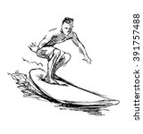 hand sketch surfer | Shutterstock .eps vector #391757488