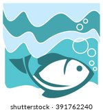 pattern with fish  waves and... | Shutterstock .eps vector #391762240