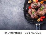 grill beef juicy sirloin steaks ... | Shutterstock . vector #391767328
