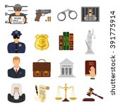 set crime and punishment flat...   Shutterstock .eps vector #391775914
