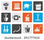 flat garden and gardening tools ...   Shutterstock .eps vector #391777414
