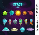 space cartoon icons set.... | Shutterstock .eps vector #391791583