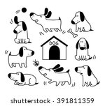 Stock vector dogs set cute puppy vector illustration for postcards prints posters designs stickers 391811359