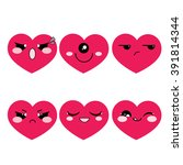 vector icon set. simple hearts... | Shutterstock .eps vector #391814344