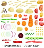 sliced vegetables  vector   Shutterstock .eps vector #391845334