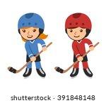 cute cartoon hockey players ... | Shutterstock .eps vector #391848148