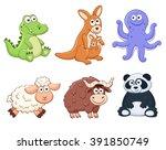 Cute Cartoon Animals Isolated...