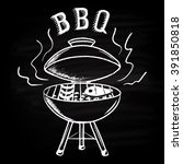 barbecue background drawn in... | Shutterstock .eps vector #391850818