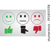 green smiley thumbs up well.... | Shutterstock .eps vector #391855558