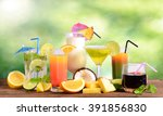 selection of summer drinks | Shutterstock . vector #391856830