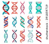 dna molecule sign set  genetic... | Shutterstock .eps vector #391859719
