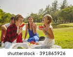 picnic party friendly young... | Shutterstock . vector #391865926