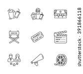 nine modern cinema icons | Shutterstock .eps vector #391866118