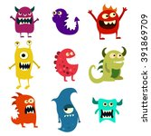 doodle monsters set. colorful... | Shutterstock .eps vector #391869709