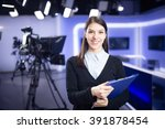 television presenter recording... | Shutterstock . vector #391878454