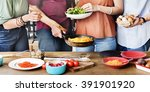 friends chef cook cooking... | Shutterstock . vector #391901920