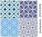 set of 4 decorative mosaic... | Shutterstock .eps vector #391913290