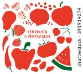 mixed fruits and vegetables... | Shutterstock .eps vector #391914274